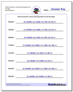 Standard, Expanded and Word Form Worksheet Write the Number in Place Value Six Digits