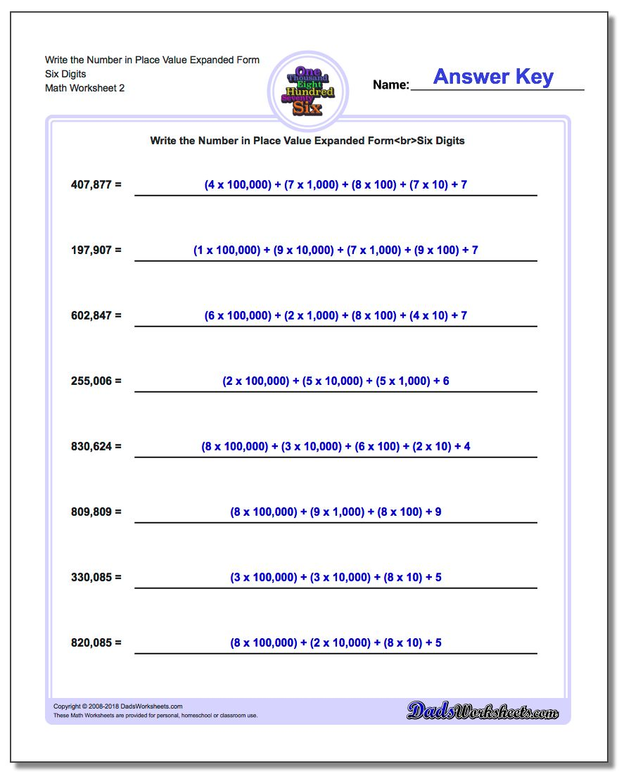 Write the Number in Place Value Expanded Form Worksheet Six Digits www.dadsworksheets.com/worksheets/standard-expanded-and-word-form.html