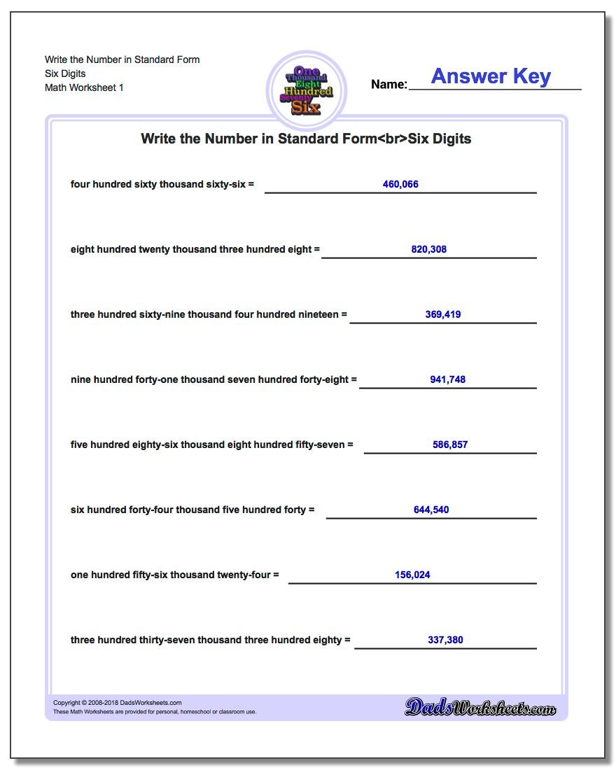 Standard, Expanded and Word Form Worksheet Write the Number in Six Digits