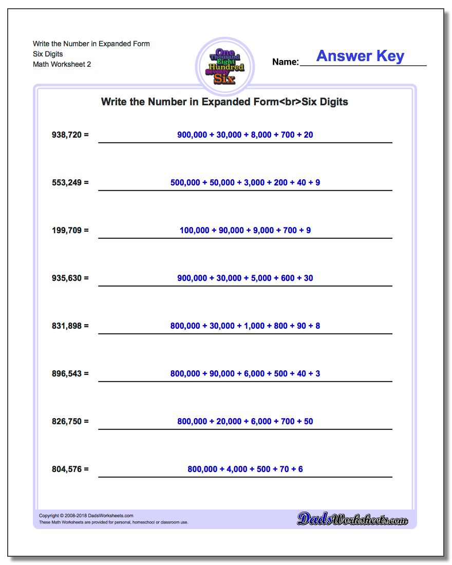 Write the Number in Expanded Form Worksheet Six Digits www.dadsworksheets.com/worksheets/standard-expanded-and-word-form.html
