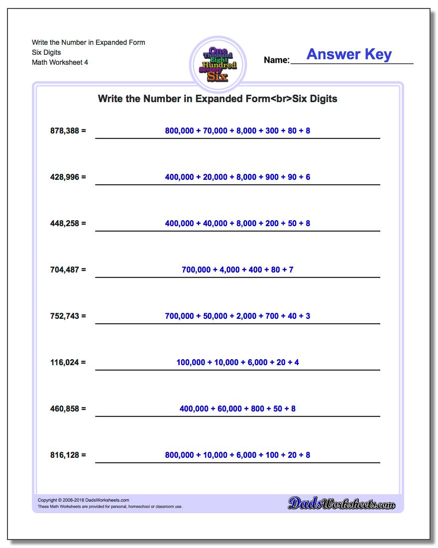 Write the Number in Expanded Form Worksheet Six Digits