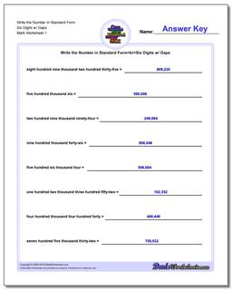Standard, Expanded and Word Form Worksheet Write the Number in Six Digits w/ Gaps
