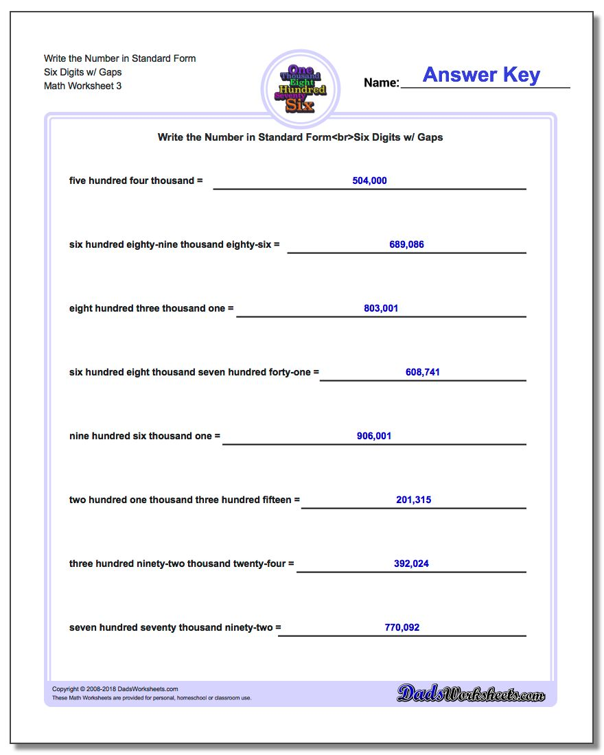 Write the Number in Standard Form Worksheet Six Digits w/ Gaps