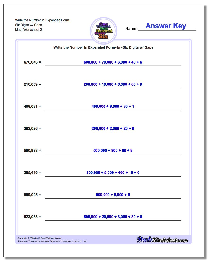 Write the Number in Expanded Form Worksheet Six Digits w/ Gaps www.dadsworksheets.com/worksheets/standard-expanded-and-word-form.html