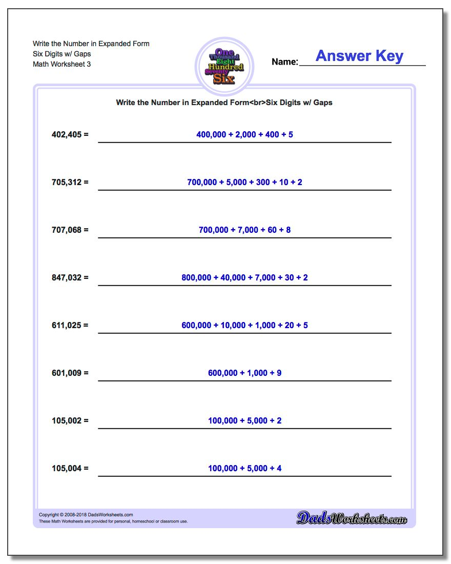 Write the Number in Expanded Form Worksheet Six Digits w/ Gaps