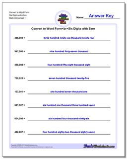 Standard, Expanded and Word Form Worksheet Convert to Six Digits with Zero