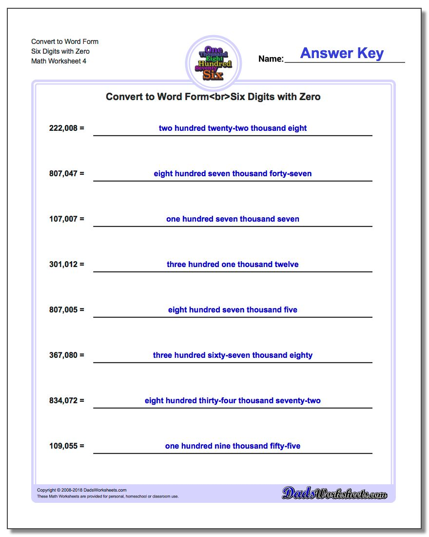 Convert to Word Form Worksheet Six Digits with Zero