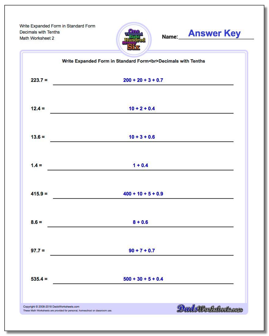 Write Expanded Form Worksheet in Standard Form Decimals with Tenths www.dadsworksheets.com/worksheets/standard-expanded-and-word-form.html