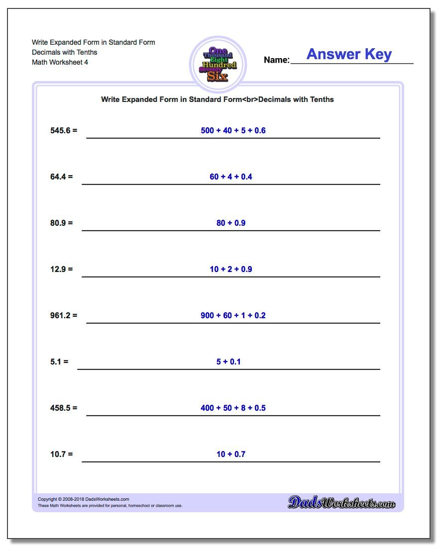 Write Expanded Form Worksheet in Standard Form Decimals with Tenths