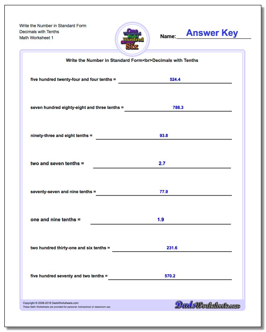 Standard, Expanded and Word Form Worksheet Write the Number in Decimals with Tenths