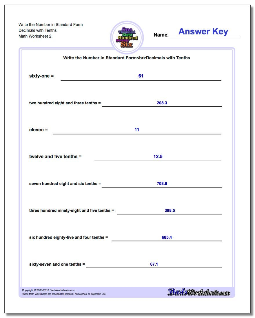 Write Word From In Standard Form