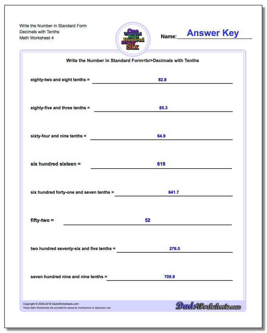 Write the Number in Standard Form Worksheet Decimals with Tenths
