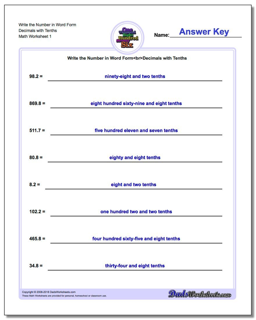 Write Numbers in Word Form – Writing Name Worksheets