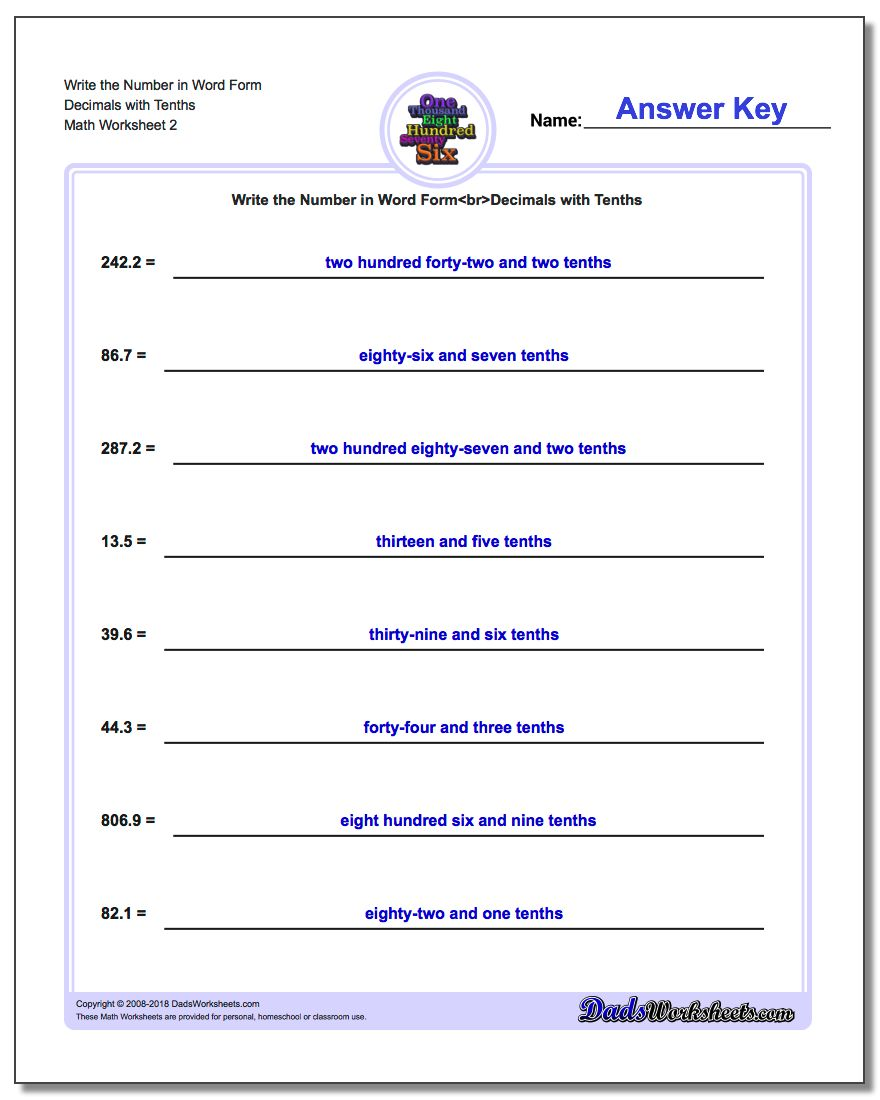 Write the Number in Word Form Worksheet Decimals with Tenths www.dadsworksheets.com/worksheets/standard-expanded-and-word-form.html