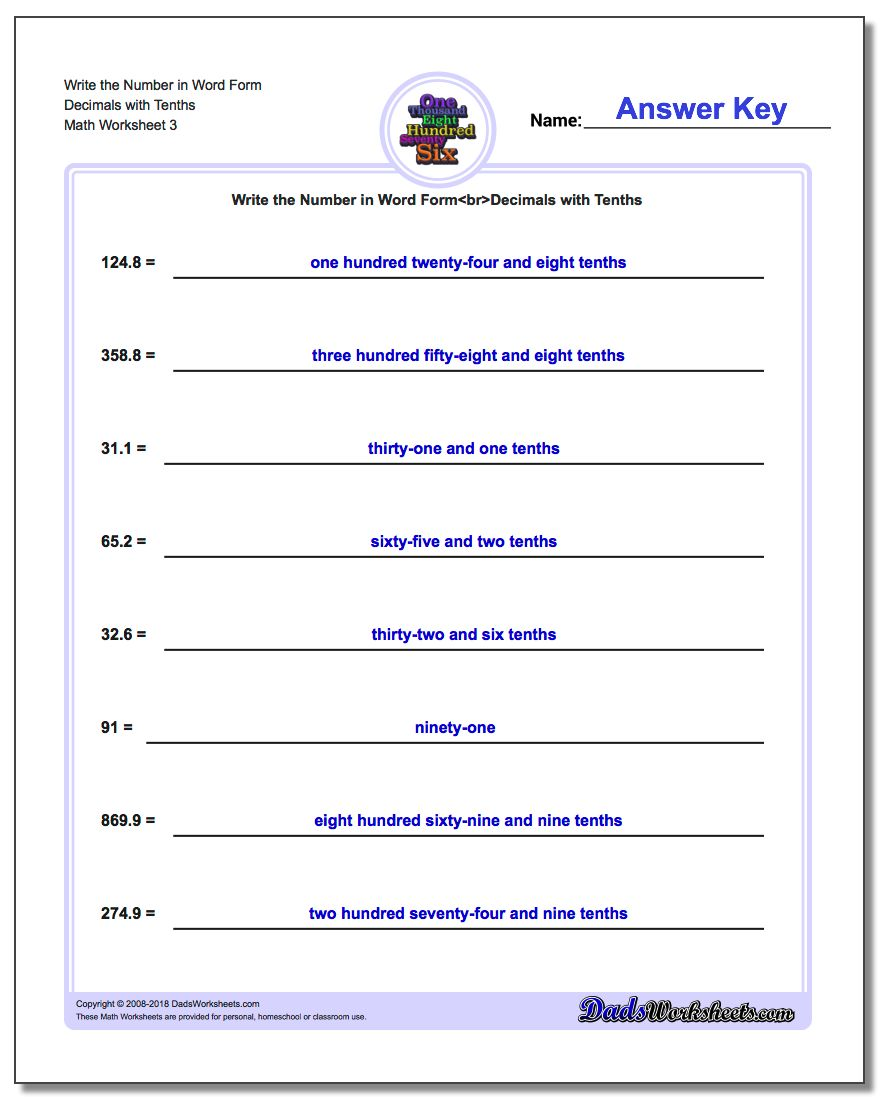 Write the Number in Word Form Worksheet Decimals with Tenths