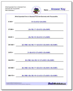 Standard, Expanded and Word Form Worksheet Write in Decimals with Thousandths