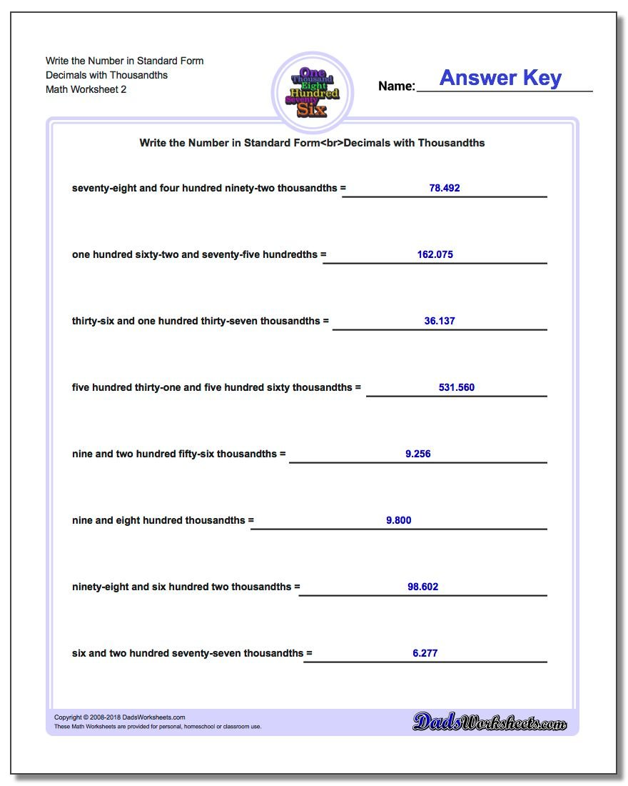 Write the Number in Standard Form Worksheet Decimals with Thousandths www.dadsworksheets.com/worksheets/standard-expanded-and-word-form.html