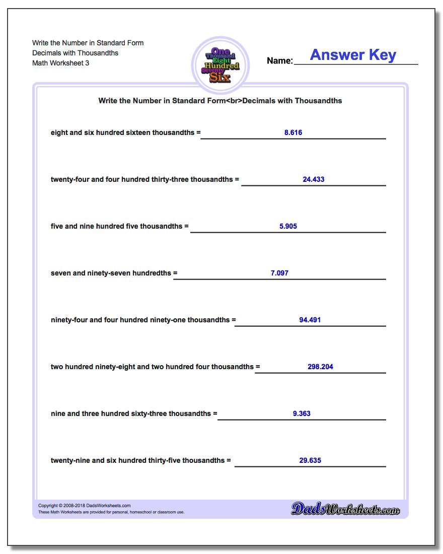 Write the Number in Standard Form Worksheet Decimals with Thousandths