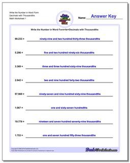 Standard, Expanded and Word Form Worksheet Write the Number in Decimals with Thousandths