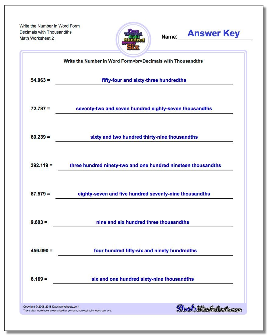 Write the Number in Word Form Worksheet Decimals with Thousandths www.dadsworksheets.com/worksheets/standard-expanded-and-word-form.html