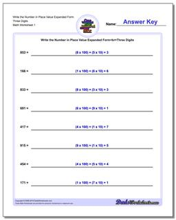 Standard, Expanded and Word Form Worksheet Write the Number in Place Value Three Digits
