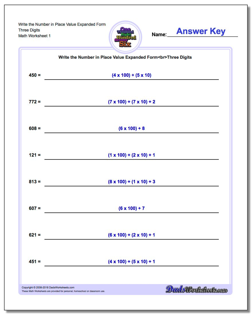 Standard, Expanded and Word Form Worksheets Write the Number in Place Value Three Digits
