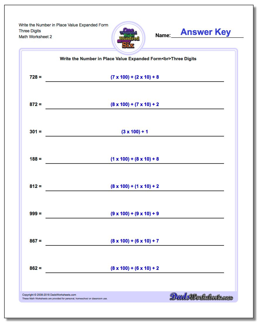 Write the Number in Place Value Expanded Form Worksheet Three Digits www.dadsworksheets.com/worksheets/standard-expanded-and-word-form.html