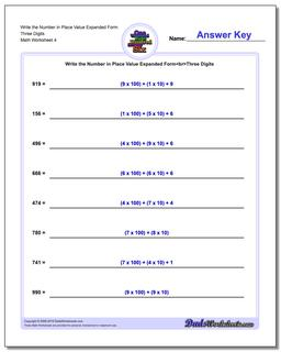 Write the Number in Place Value Expanded Form Worksheet Three Digits