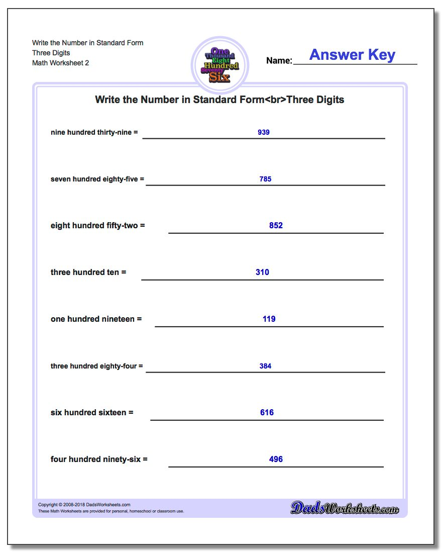 Write the Number in Standard Form Worksheet Three Digits www.dadsworksheets.com/worksheets/standard-expanded-and-word-form.html