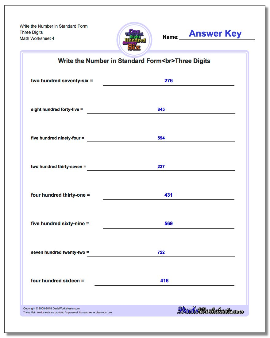 Write the Number in Standard Form Worksheet Three Digits