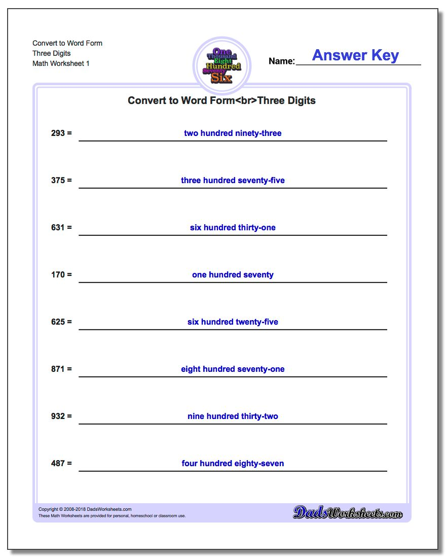 Standard, Expanded and Word Form Worksheet Convert to Three Digits