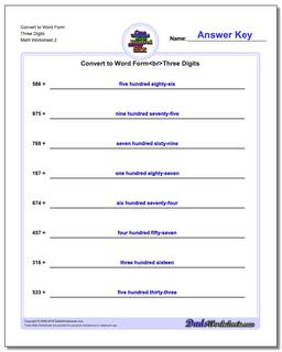 Convert to Word Form Worksheet Three Digits www.dadsworksheets.com/worksheets/standard-expanded-and-word-form.html