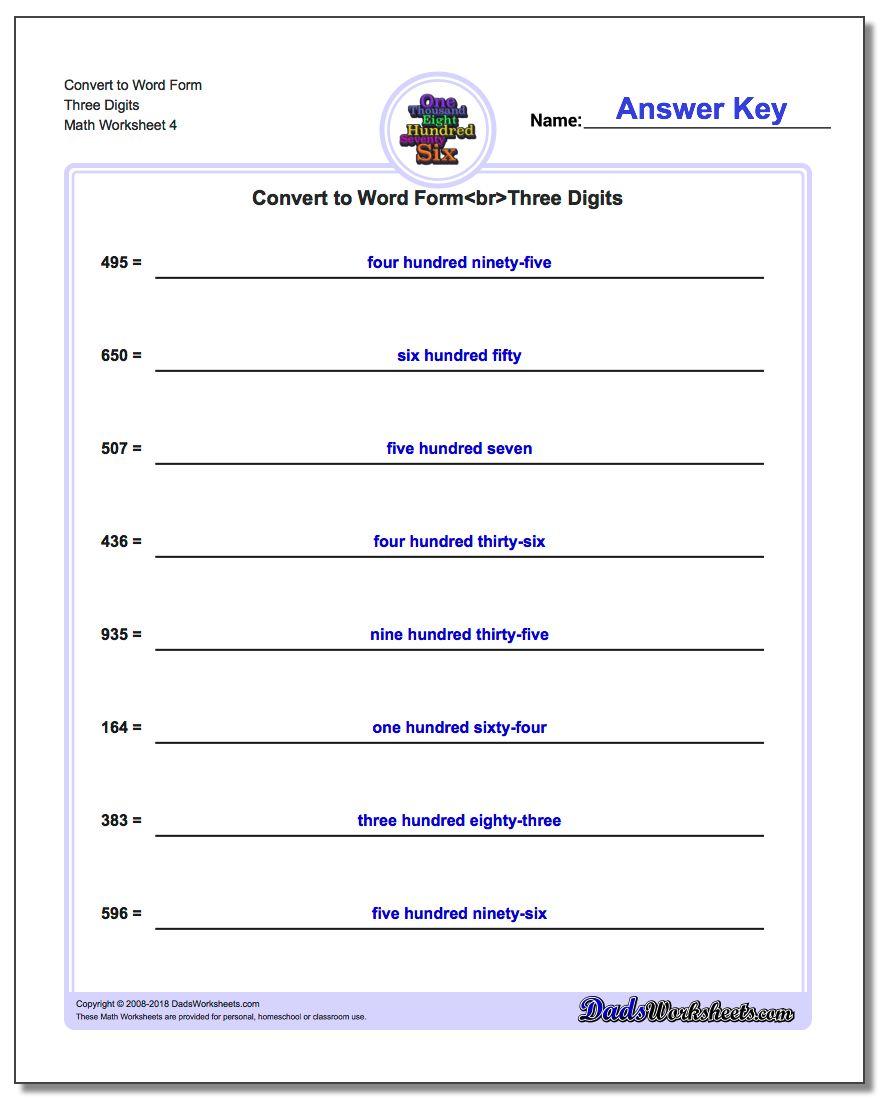 Convert to Word Form Worksheet Three Digits