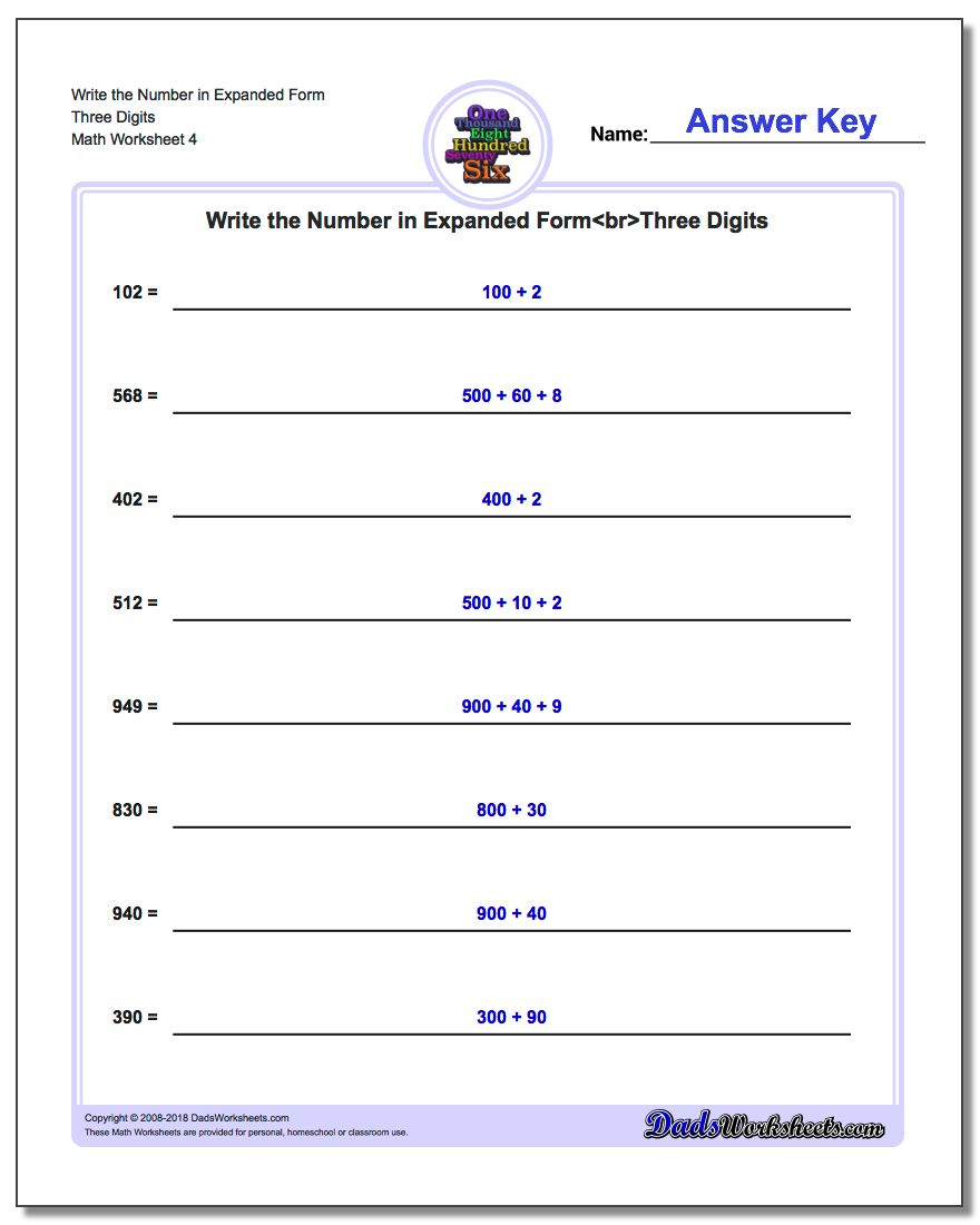 Write the Number in Expanded Form Worksheet Three Digits