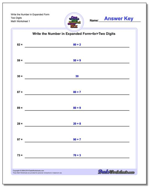 Standard, Expanded and Word Form Worksheets Write Numbers in
