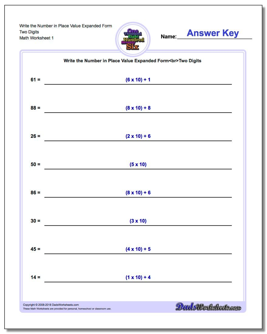 Standard Expanded and Word Form – Maths Worksheets Place Value