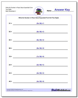 Write the Number in Place Value Expanded Form Worksheet Two Digits www.dadsworksheets.com/worksheets/standard-expanded-and-word-form.html
