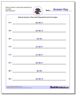 Write the Number in Place Value Expanded Form Worksheet Two Digits