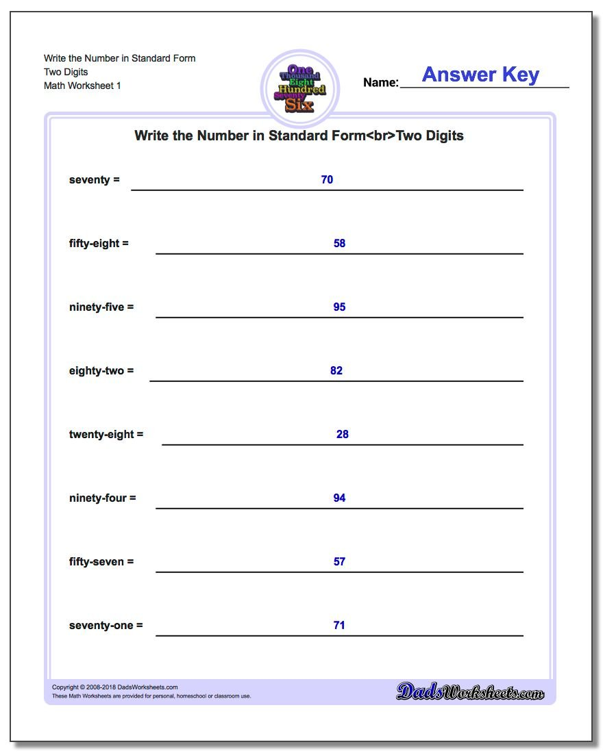 worksheet Standard Form Of A Line Worksheet expanded and word form standard form
