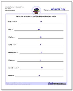 Write the Number in Standard Form Worksheet Two Digits