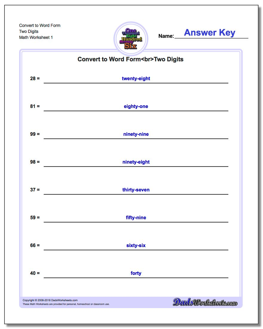 Standard, Expanded and Word Form Worksheet