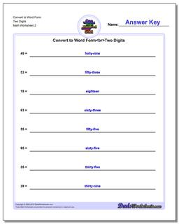 Convert to Word Form Worksheet Two Digits www.dadsworksheets.com/worksheets/standard-expanded-and-word-form.html