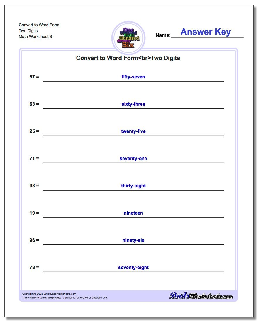 Convert to Word Form Worksheet Two Digits
