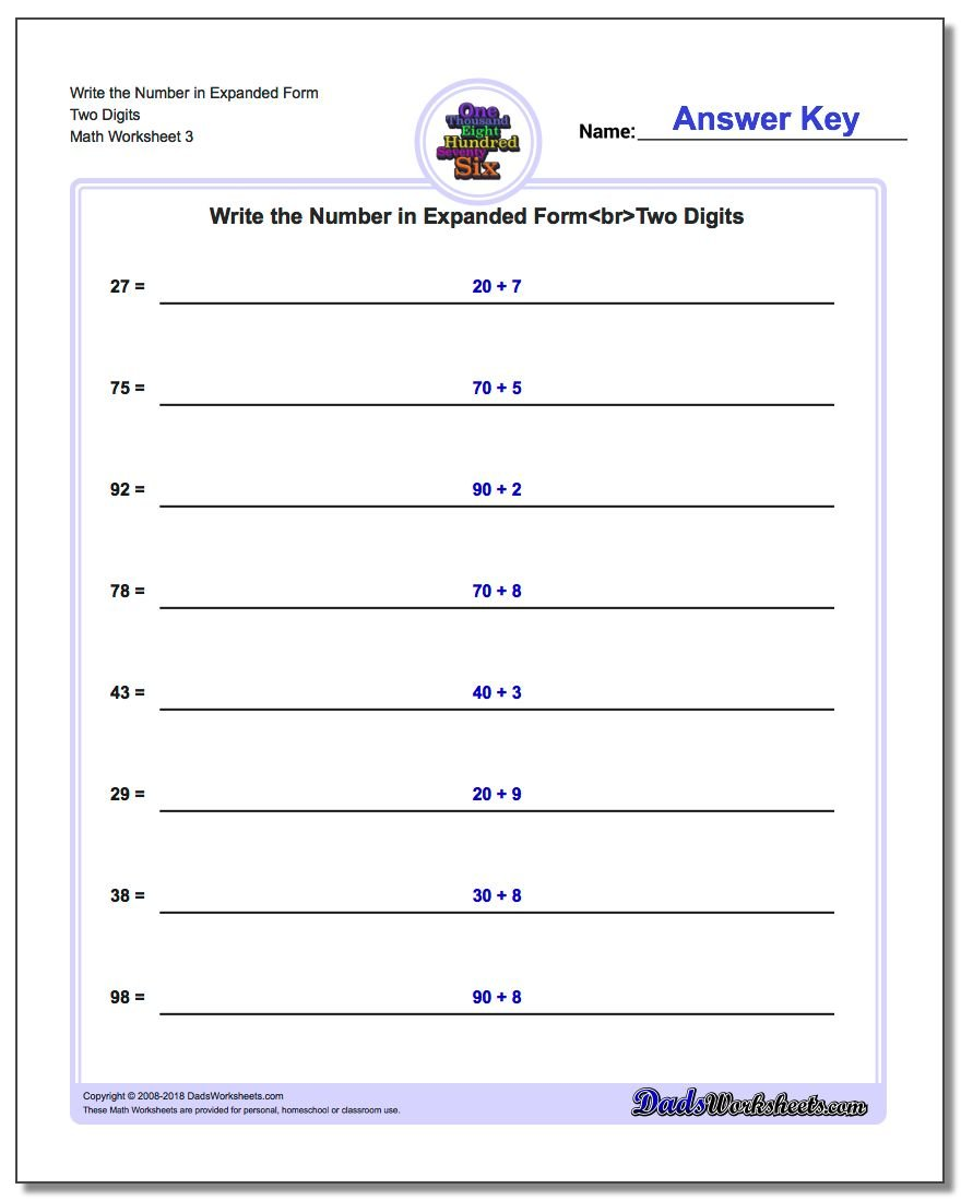 Write the Number in Expanded Form Worksheet Two Digits