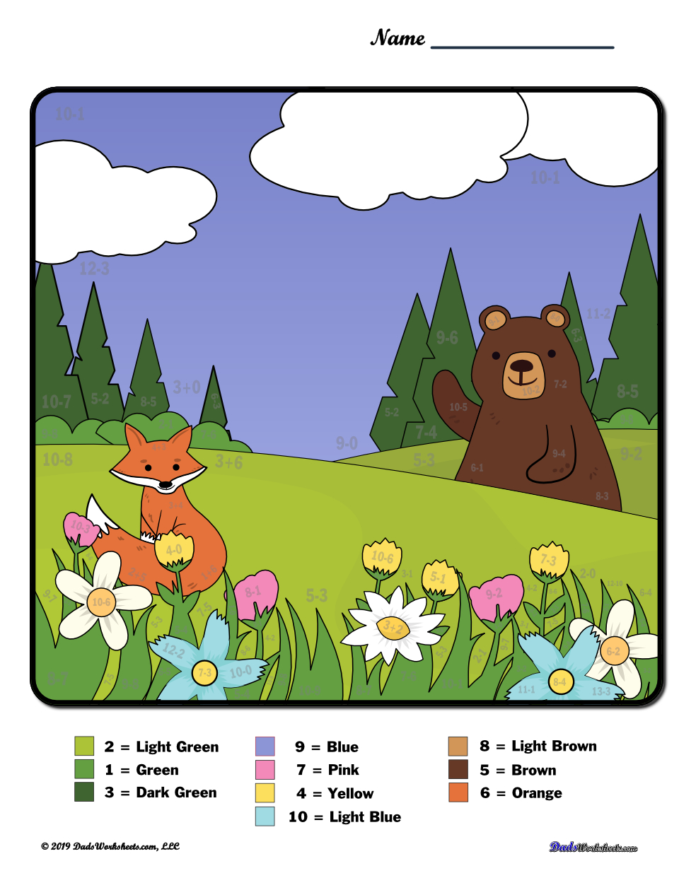 Spring Subtraction Color by Number Worksheet