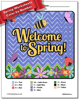 Spring Subtraction Color by Number Worksheet #Subtraction #Worksheet #Color #By #Number