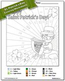 St. Patrick's Day Subtraction Color by Number Worksheet
