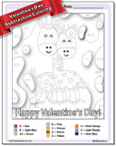 Valentine's Day Subtraction Color by Number Worksheet