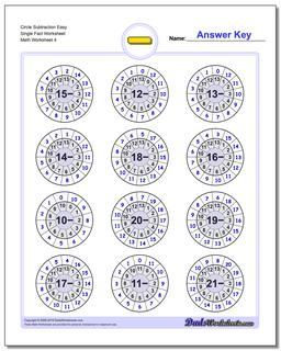 Circle Subtraction Easy Single Fact Worksheet