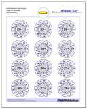Circle Subtraction Hard Random Single Fact Worksheet